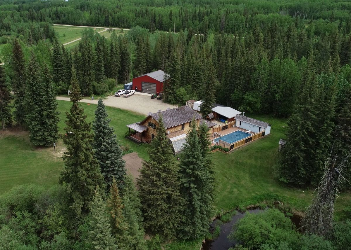 Contact for Nyla LePine for more information on this Unique Shop, Home, Pool on 160 Acres South of Dawson Creek BC,